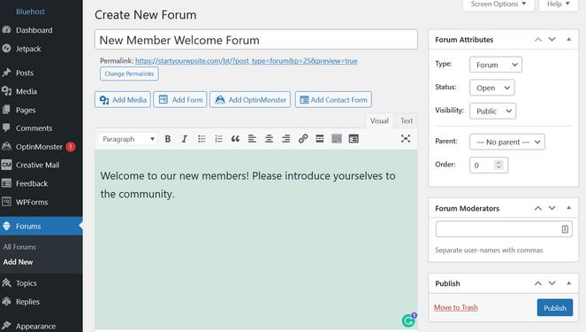 écran d'édition du forum