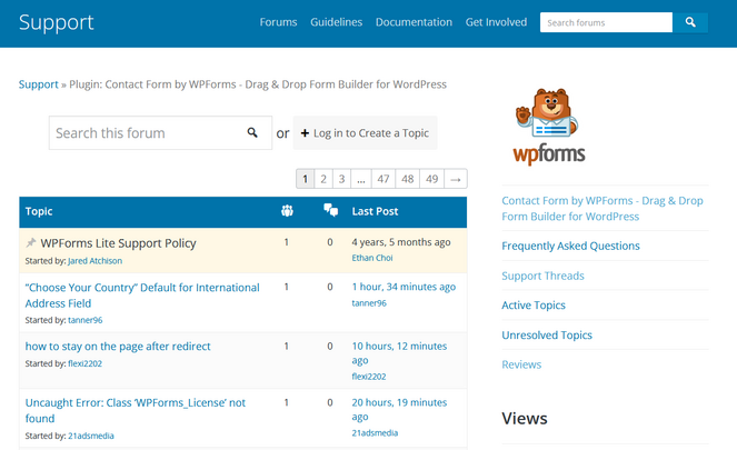 wpforms free plugin support