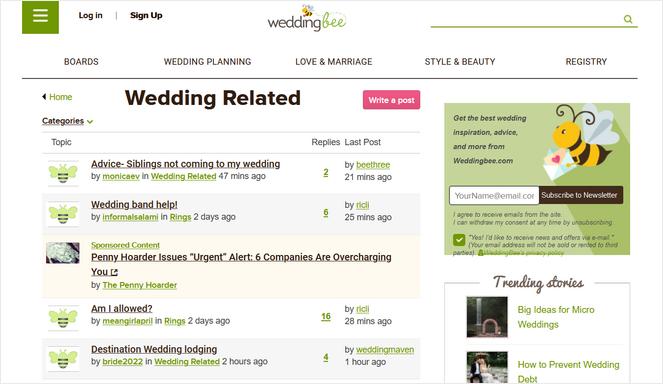 exemple de forum de blog sur les abeilles de mariage